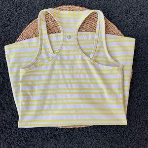 Lululemon Yellow Stripe Yoga Workout Tank Top